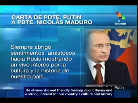 Vladimir Putin sends Nicolás Maduro a letter recalling Chavez's legacy