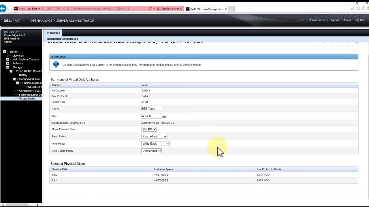 How To Create a New Volume on a Dell PERC H740P RAID