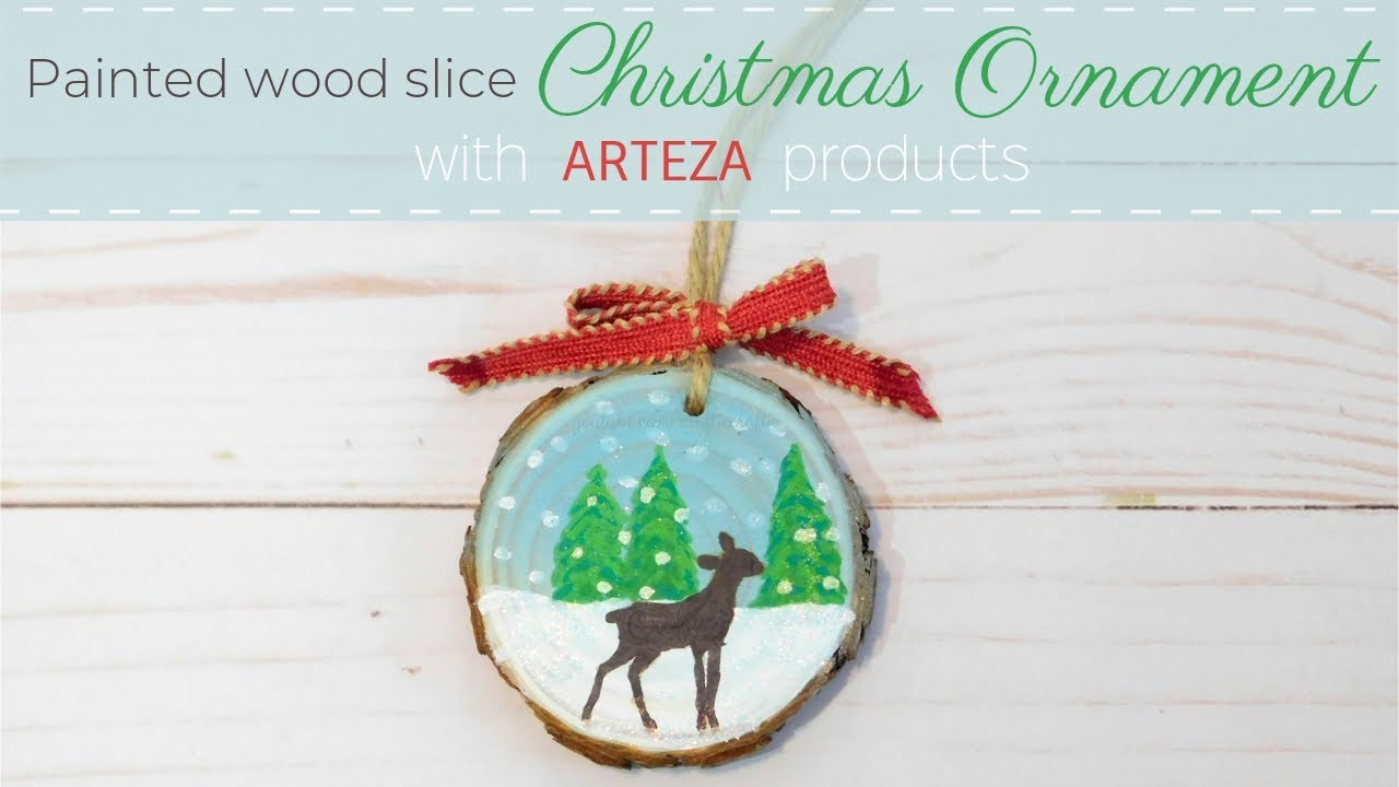 Painted Wood Slice Christmas Ornament With Arteza Products