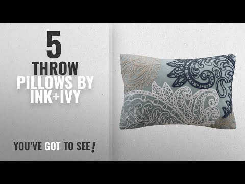 Top 10 Ink+Ivy Throw Pillows [2018]: INK+IVY Kiran Embroidered Cotton Lumbar Throw Pillow