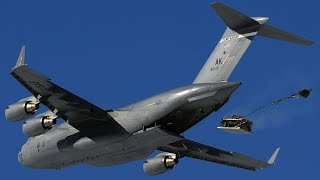 Humvee Airdrop 5000 Feet From C-17 Globemaster Aircraft