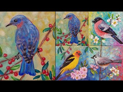 Easy Bluebird Acrylic Painting Tutorial LIVE Songbird Mini Canvas Series