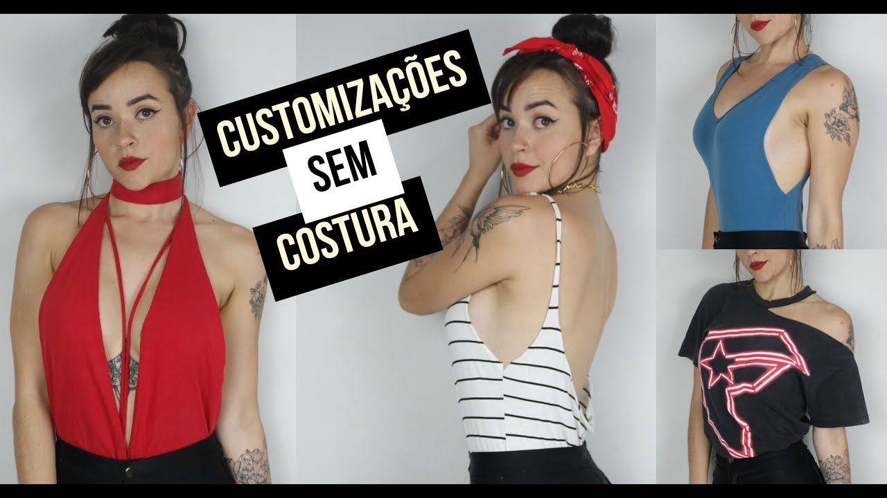 78f8700272 4 customizações com camisetas   blusas sem costura (decote lateral ...