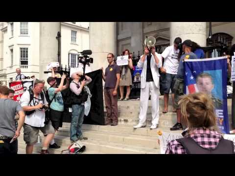 London Crew with Rev Billy for Bradley Manning. Free Speech - Use it or Lose it !