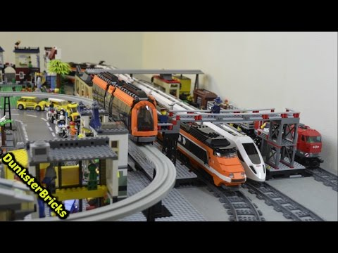 LEGO Train Track Layout with 7 Foot MOC Bridge, Big Station and Custom Monorail!