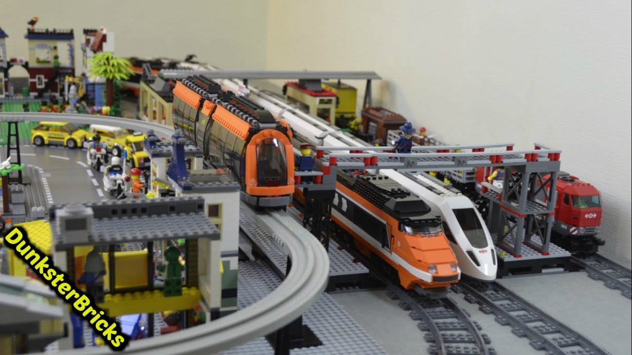 Lego Train Track Layout With 7 Foot Moc Bridge Big Station And Custom Monorail Youtube
