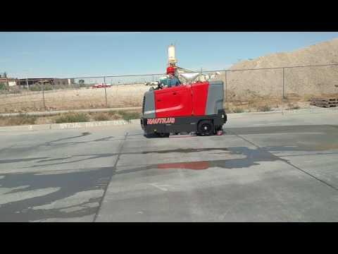 Mar-co Equipment PowerBoss Nautilus Rider Scrubber Sweeper Demonstration