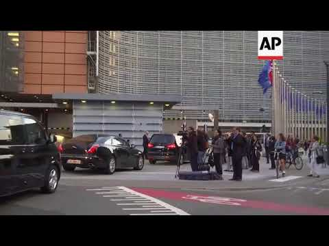 May and Davis' motorcade arrives for Brexit talks with EU