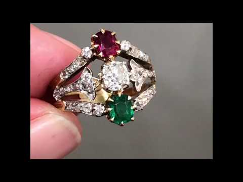 Antique Victorian ruby, emerald and diamond ring in 18-carat gold and platinum, circa 1900
