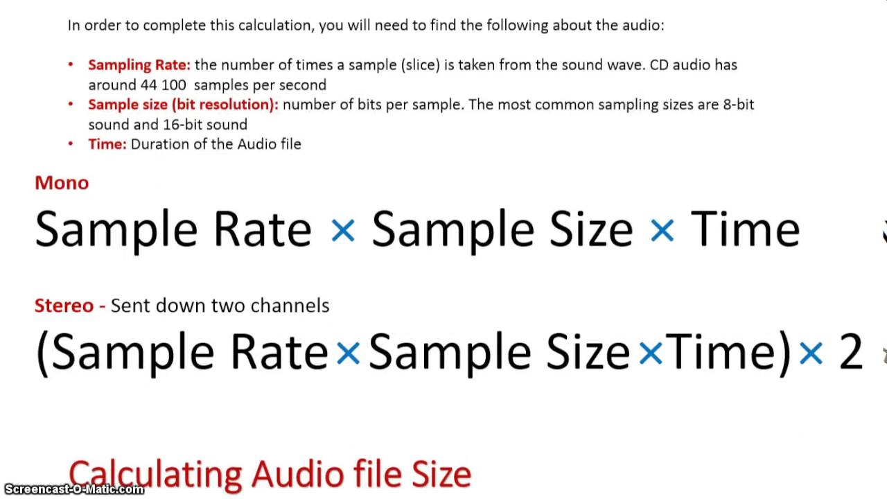 Calculations Audio File Size Youtube