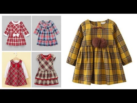 b1d369408 Stylish Check Print Winter Frocks Ideas For Baby Girls=Casual Dress Designs  For Kids 2018-19
