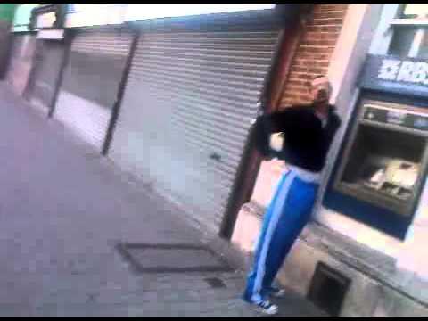 randomer at cash machine gets his pants pulled down