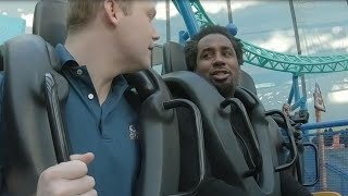Dhani Jones gives Super Bowl analysis while on roller coaster