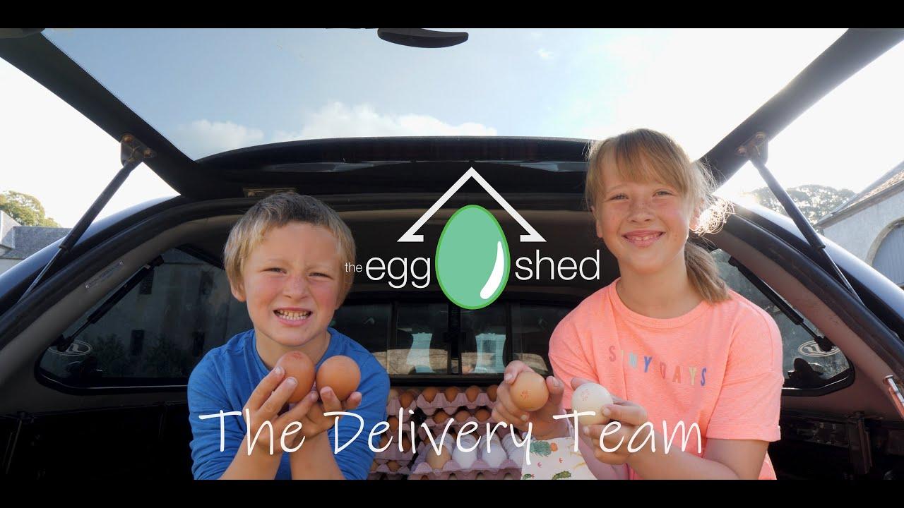 The Egg Shed - Katherine & Forbes delivering free range organic eggs to Dunkeld.