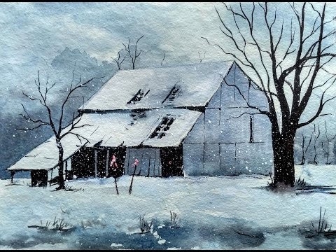 Snowy Winter Landscape with Watercolor Painting Tutorial for Beginners