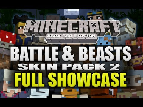 Minecraft Xbox 360 NEW Battle & Beasts Skin Pack 2 Full Showcase (ALL SKINS)