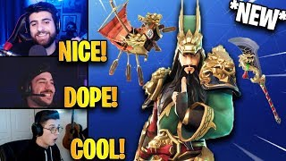 Streamers React to *NEW* Guan Yu Skin & Divine Dragon Glider *EPIC* | Fortnite Highlights