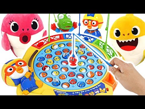 Baby shark VS Mommy shark~ Let's play with Pororo's Fishing Toy! #PinkyPopTOY