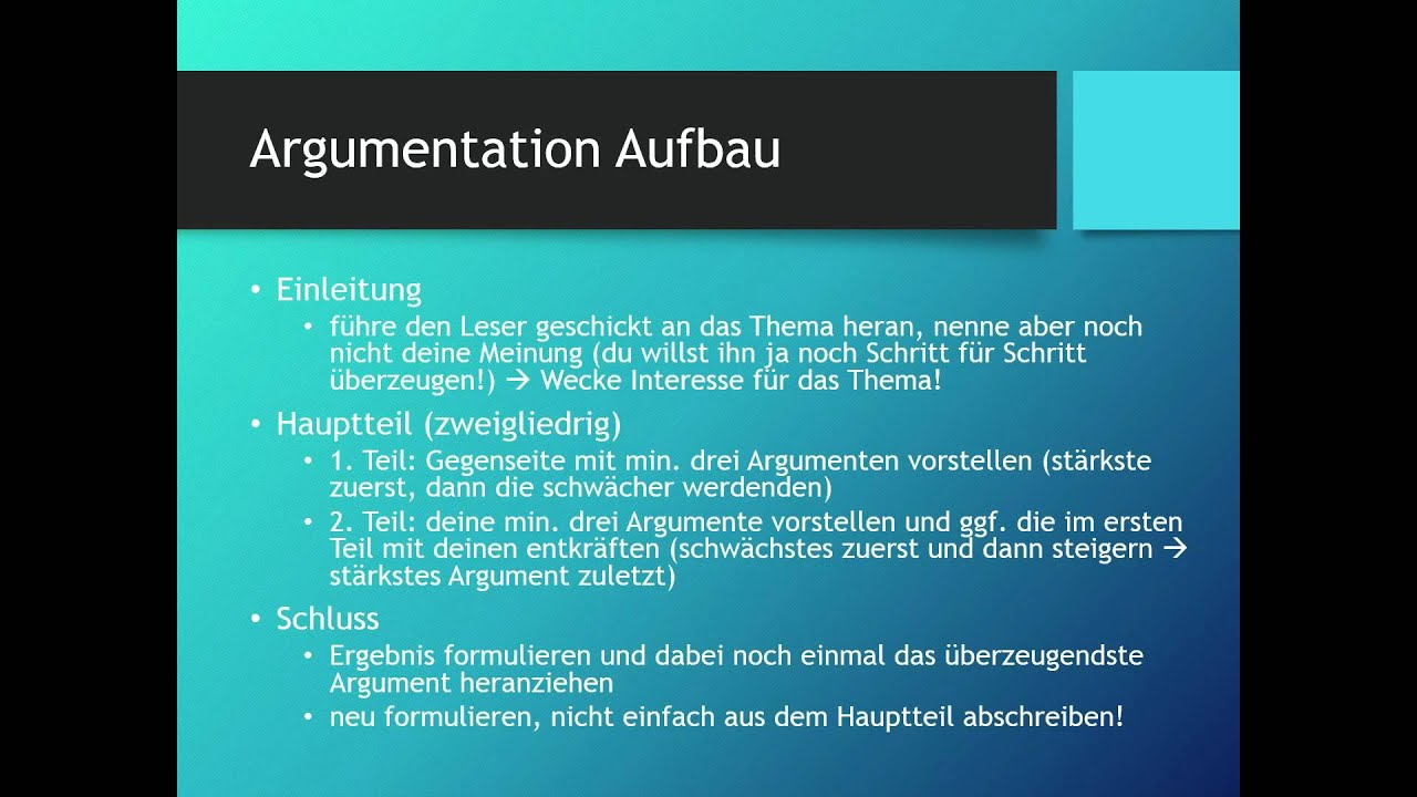Argumentativer Text Pro Contra Deutsch Youtube