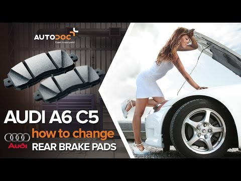 how to change a rear brake pads audi a6 c5 tutorial autodoc youtube. Black Bedroom Furniture Sets. Home Design Ideas