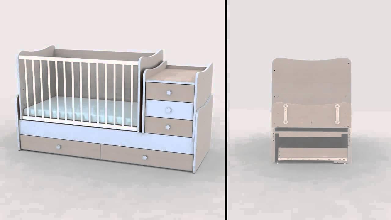 Ledikant En Commode In 1.Transformeerbare Babykamers 4 En 5 In 1 Met Schommel Systeem