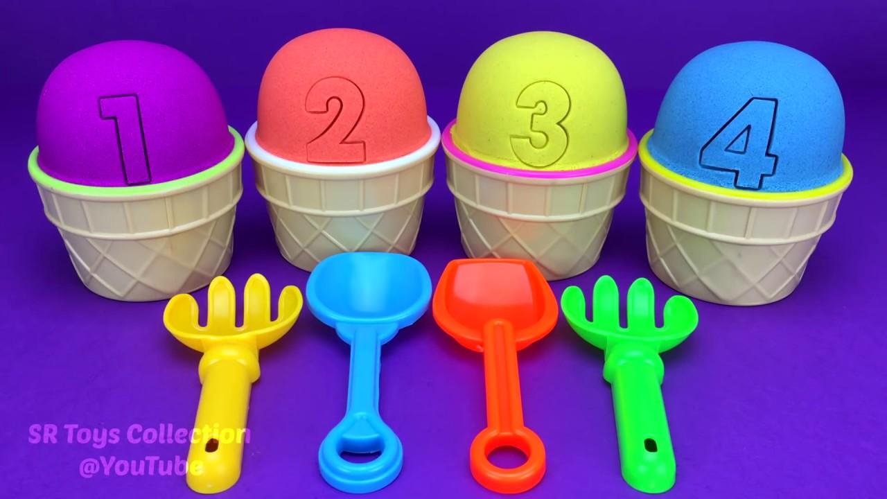 4 Color Kinetic Sand in Ice Cream Cups | Surprise Toys Coles Little Shop Yowie Surprise Eggs