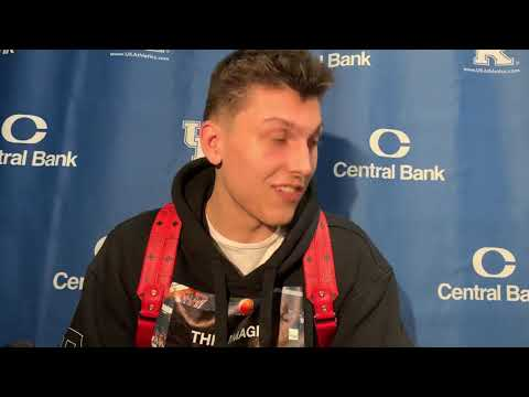 Tyler Herro talks to the media post-Utah