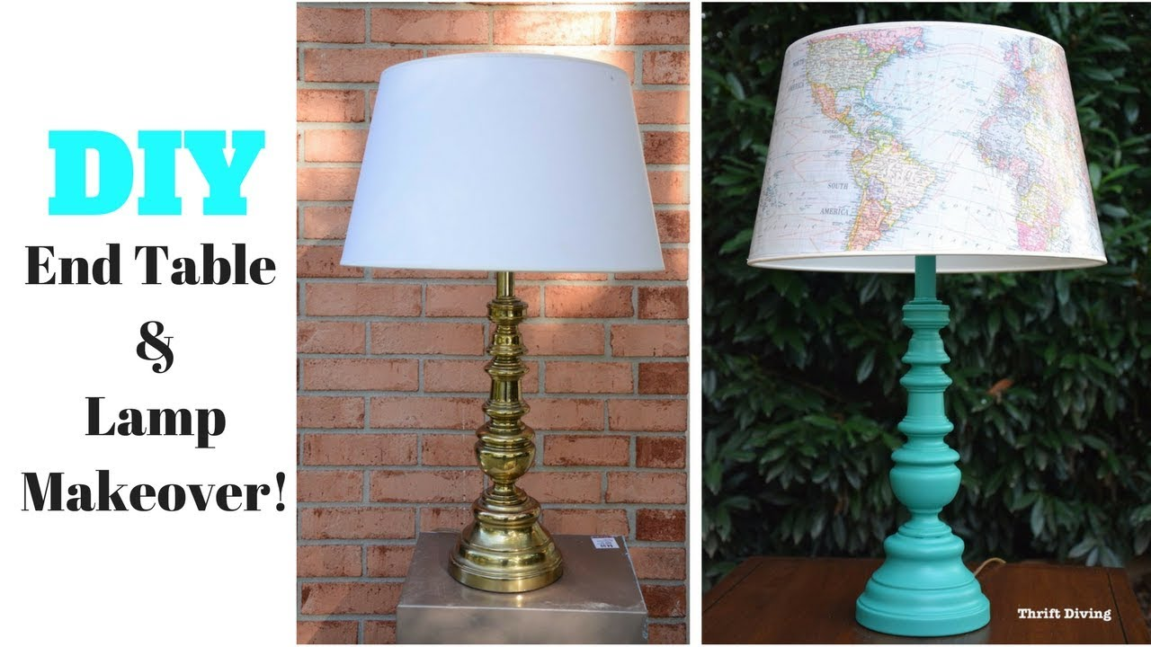 DIY End Table And Lamp Makeover: Furniture Makeover   Thrift Diving