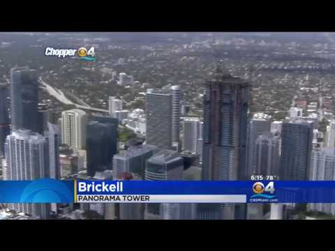 WFOR-4, CBS-TV visits Panorama Tower, tallest structure south of Manhattan.