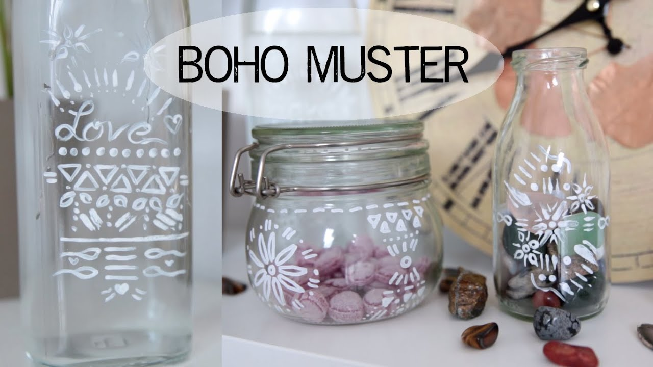 diy deko gl ser boho muster kekulo youtube. Black Bedroom Furniture Sets. Home Design Ideas