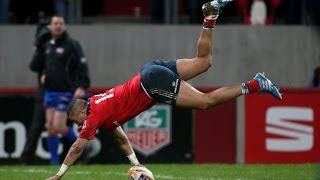 Simon Zebo juggles & dives in for Try - Munster v Cardiff Blues 8th February 2014