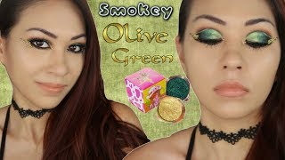 Smokey OLIVE GREEN Fall Makeup ll Peaches & Cream Pigments