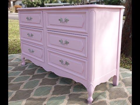 Furniture Makeover: French 6 drawerPink Dresser DIY