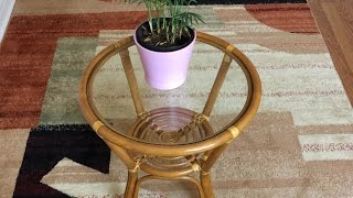 Rattan Round Small Coffee End Table Diana 21