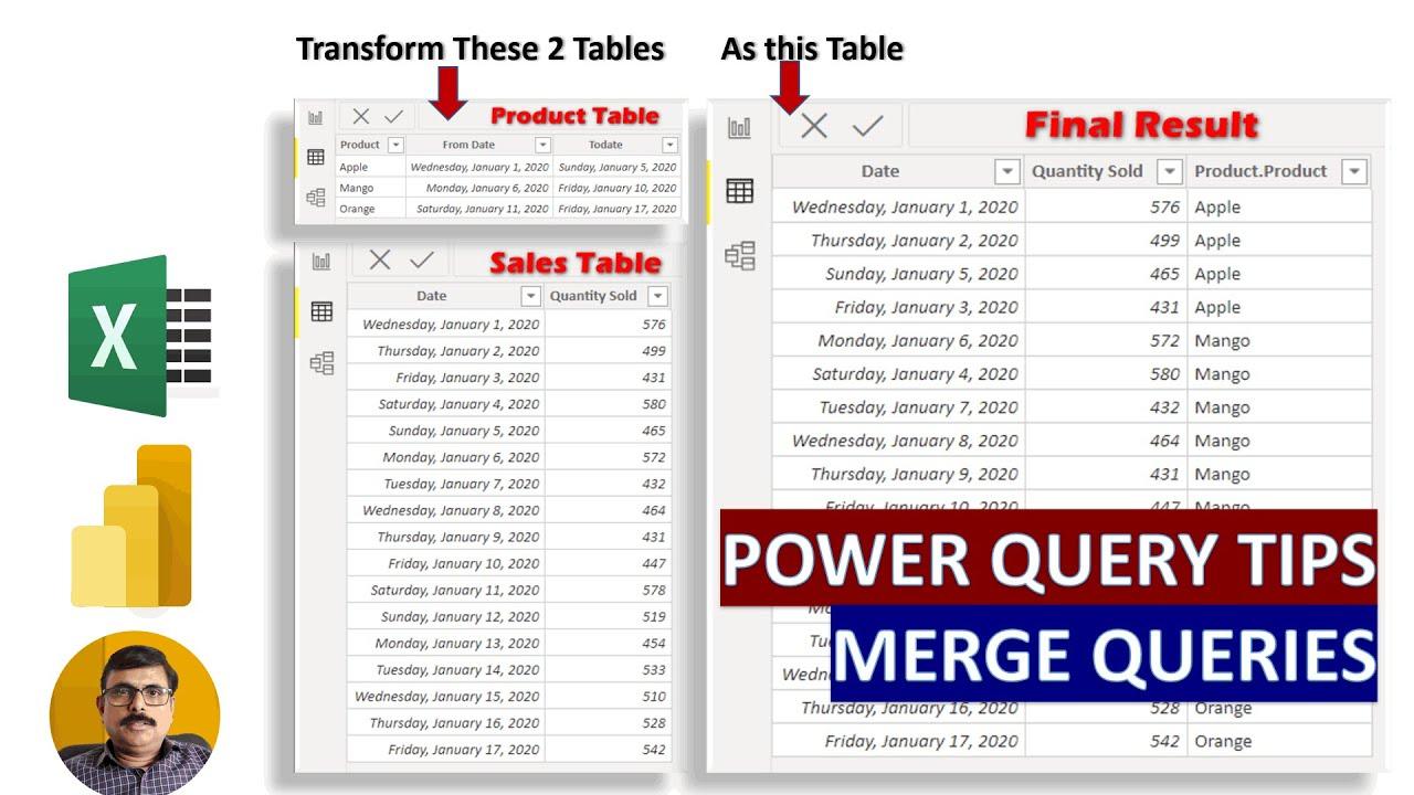 Power Query Editor - Merge Queries - Power BI  & Excel