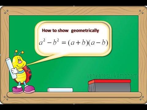 how to show geometrically that a^2- b^2= (a+b) (a-b)
