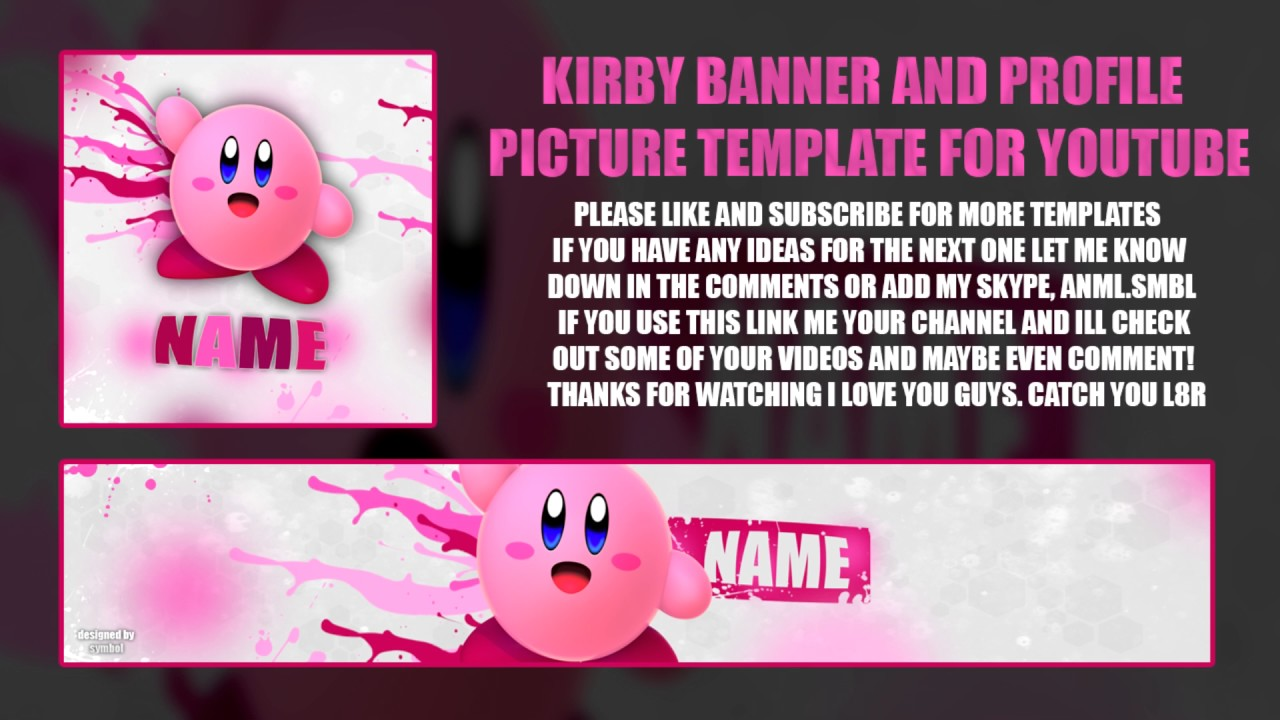 free kirby banner profile picture template youtube