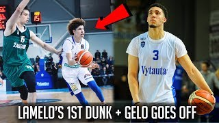 LaMelo and LiAngelo Ball's First Game in Lithuania! LaMelo's FIRST DUNK + Highlights