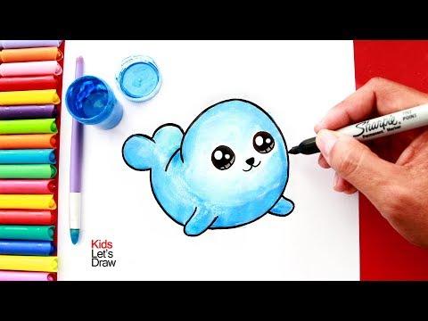 Cómo dibujar y pintar una FOCA Kawaii | How to Draw a Cute Seal Easy