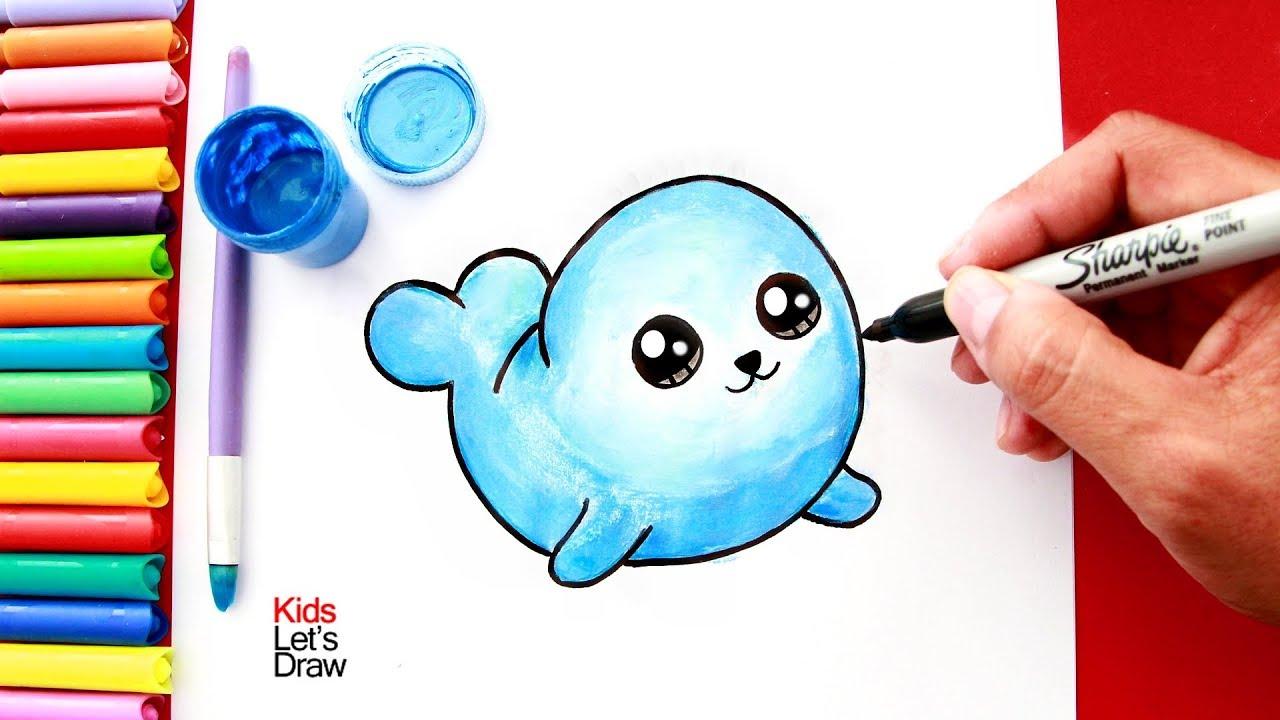 Como Dibujar Y Pintar Una Foca Kawaii How To Draw A Cute Seal