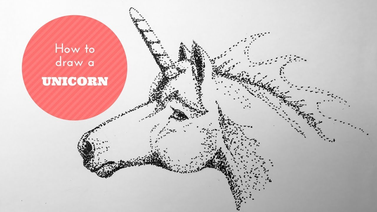 How To Draw A Unicorn Pointillism Or Dot Drawing Technique Youtube