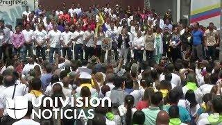Rueda de prensa por la llegada de ayuda humanitaria en Cúcuta, frontera entre Colombia y Venezuela