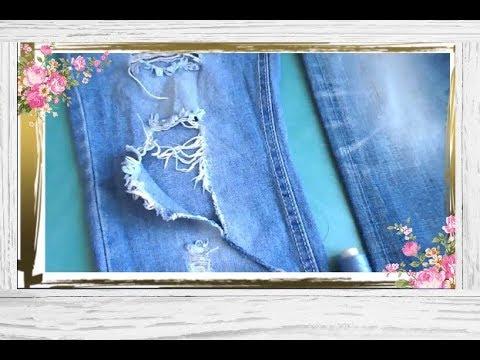 Как задекорировать дырки на джинсах