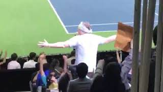 Roger Federer does the wave at his charity event for MATCH 4 AFRICA!