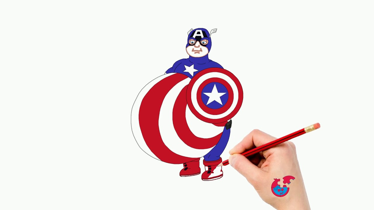 Learning How To Draw Marvel Heros For Toddlers Captain America