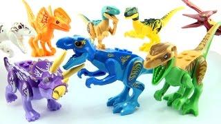8 colourful lego Jurassic World Dinosaurs - Tyrannosaurus Indominus Rex Velociraptor