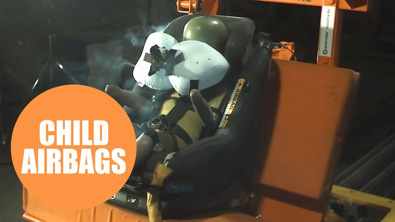 Child car seat with airbags - YouTube