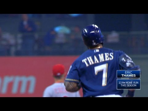 CIN@MIL: Thames stays hot, hits homer to right