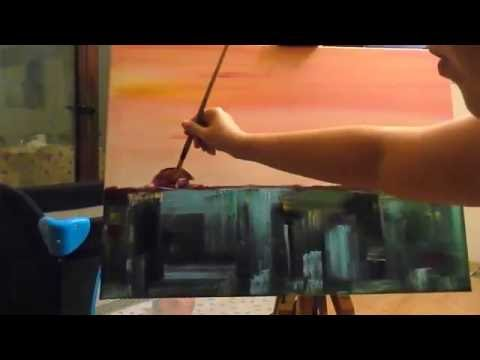 How to Paint a Morning Semi Abstract Landscape Painting with a House Time Lapse