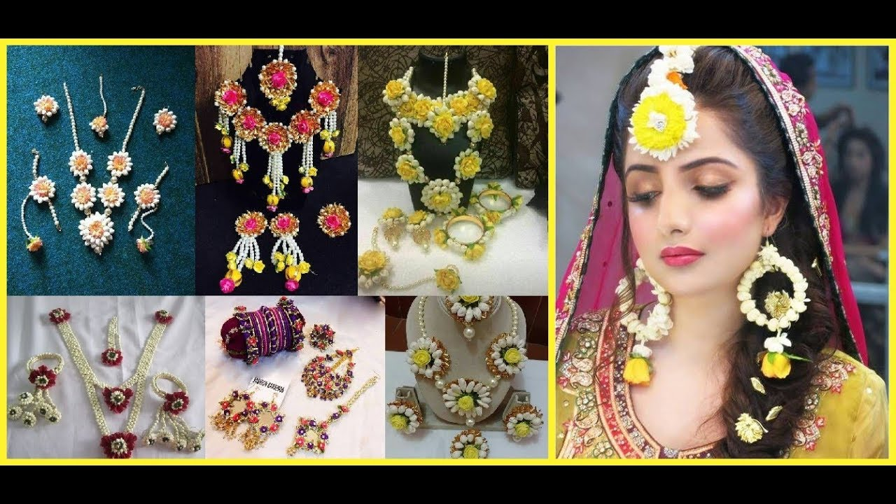 Flower Jewellery For Mehndi And Haldi Function 2019 20 Youtube